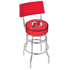 New Jersey Devils 25'' Chrome Finish Swivel Counter Height Stool with Double Ring Base