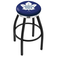Toronto Maple Leafs 25'' Black Wrinkle Finish Swivel Backless Counter Height Stool with Chrome Accent Ring