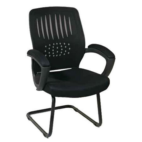 Work Smart Screen Back Designer Contoured Shell Visitor Chair with Mesh Seat - Black