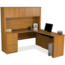Embassy L-Shaped Workstation Kit with Keyboard Shelf and 1 Filing Drawer - Cappuccino Cherry