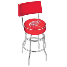 Detroit Red Wings 25'' Chrome Finish Swivel Counter Height Stool with Double Ring Base