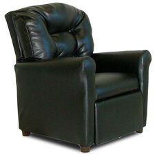 Kids 4 Button Tufted Back Faux Leather Recliner - Black