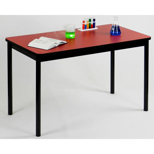 High Pressure Laminate Rectangular Lab Table with Black Base and T-Mold - Red Top - 30''D x 72''W