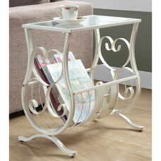 Scrolled and Woven Metal 22''H Magazine Table with Tempered Glass Top - Antique White