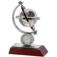 Global II Desk Clock - Mahogany
