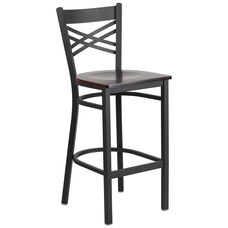 Black ''X'' Back Metal Restaurant Barstool with Walnut Wood Seat