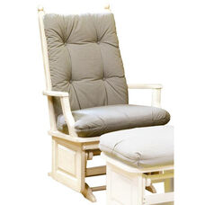 Maple Wood 26.5'' W x 42'' H x 33'' DPost Back Glider with Raised Panel - Antique White Finish