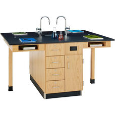 4 Station Wooden Science Center with 1'' Thick Black Epoxy Resin Top and Locking Drawers - Set of 4 Stations - 264''W x 48''D x 36''H