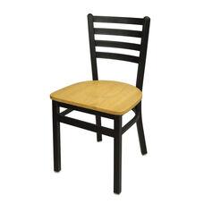 Lima Metal Ladder Back Chair - Natural Wood Seat