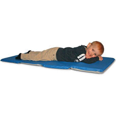 Toddler Vinyl Foldable Rest Mat with Pillow Section - 21''W x 46''D x .75''H - Blue and Gray