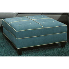 Tiffany Contemporary Style Polyester Ottoman with Storage - Jukebox Blueberry