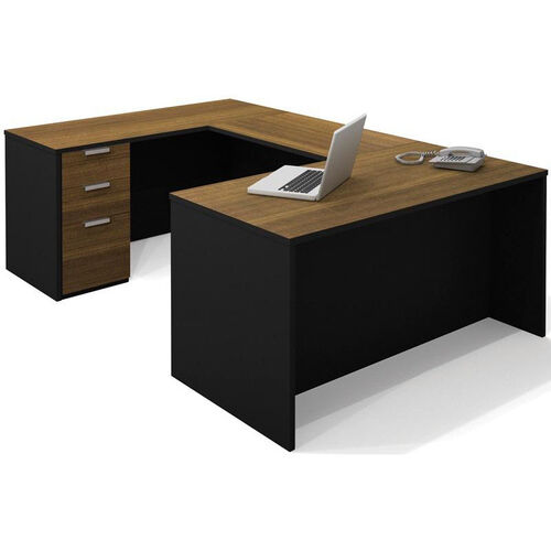 Pro-Concept U-Shaped Workstation with Drawers - Milk Chocolate Bamboo and Black