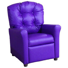 Kids Recliner with Button Tufted Back - Purple Vinyl