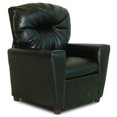 Kids Faux Leather Theater Recliner with Cup Holder - Black