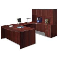 Mahogany Bow Front Desk Executive U Suite