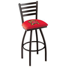 University of Maryland 25'' Black Wrinkle Finish Swivel Counter Height Stool with Ladder Style Back