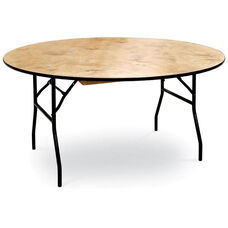 60''H Round Plywood Folding Table with Locking Wishbone Style Legs