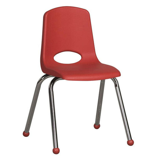 16''H Vented Back Stacking Chair with Matching Seat and Ball Glides with Chrome Legs - Red