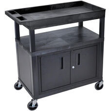 Molded Thermoplastic Resin 2 Flat/1 Tub Shelf Utility Cart with Locking Cabinet, 4'' Casters, and Tub Top Shelf - Black - 35.25''W x 18''D x 38.75''H