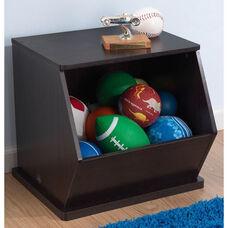 Kids Size Indoor Sturdy Open Single Storage Bin Cabinet - Espresso