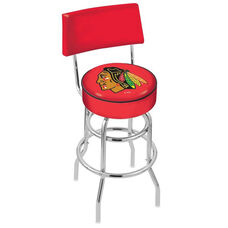 Chicago Blackhawks 25'' Chrome Finish Swivel Counter Height Stool with Double Ring Base