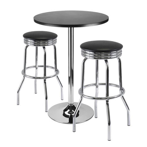 Summit 3-Pc 24''H Bar Table Set with 2 Stools