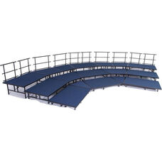 3 Level Seated Band/Choral Riser Group Set with Carpeted Surface and Heavy Duty Square Steel Tubing - 36''W