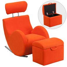 HERCULES Series Orange Fabric Rocking Chair with Storage Ottoman