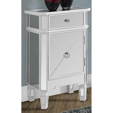 Contemporary 30''H Accent Chest with Mirror Finish - Satin White