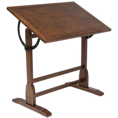 Vintage Height Adjustable 36''W x 24''D Solid Wood Drafting Table - Rustic Oak