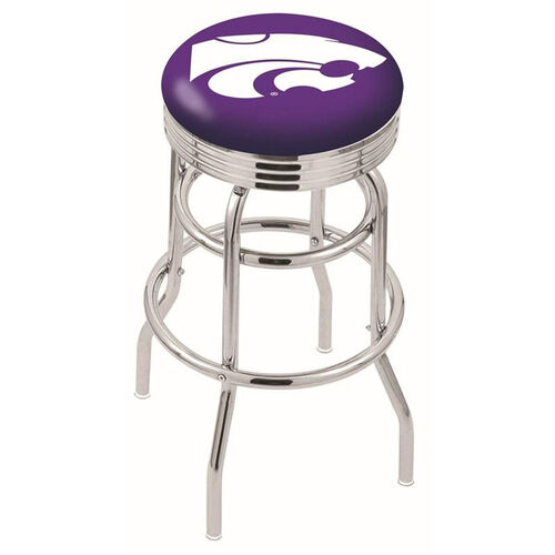 Kansas State University 25'' Chrome Finish Double Ring Swivel Backless Counter Height Stool with Ribbed Accent Ring
