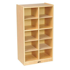 Birch 10 Cubby Tray Cabinet with 12'' Deep Cubbies - 19.5''W x 13''D x 36''H