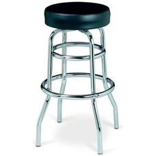 Chrome Double Ring Bar Stool with Round Footrest and Flat Upholstered Seat