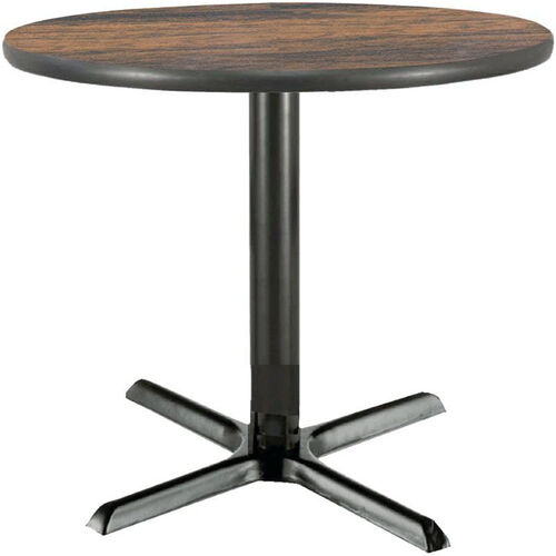 36'' Round Laminate Pedestal Table with Walnut Top - Black X-Base