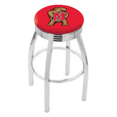 University of Maryland 25'' Chrome Finish Swivel Backless Counter Height Stool with 2.5'' Ribbed Accent Ring