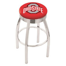 The Ohio State University 25'' Chrome Finish Swivel Backless Counter Height Stool with 2.5'' Ribbed Accent Ring