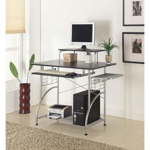 Cormac 42'' W x 23.5'' D x 36.5'' H Computer Desk - Espresso Laminate with Silver Frame