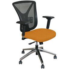 Fermata Executive Mesh Chair with Aluminum Base - Orange Fabric