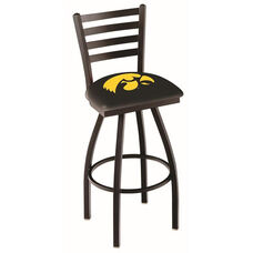 University of Iowa 25'' Black Wrinkle Finish Swivel Counter Height Stool with Ladder Style Back