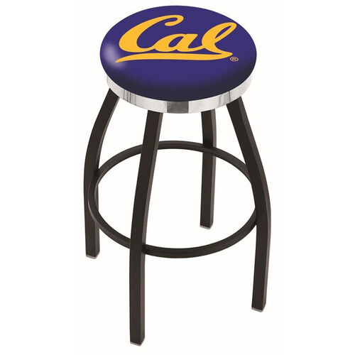 University of California Berkeley 25'' Black Wrinkle Finish Swivel Backless Counter Height Stool with Chrome Accent Ring