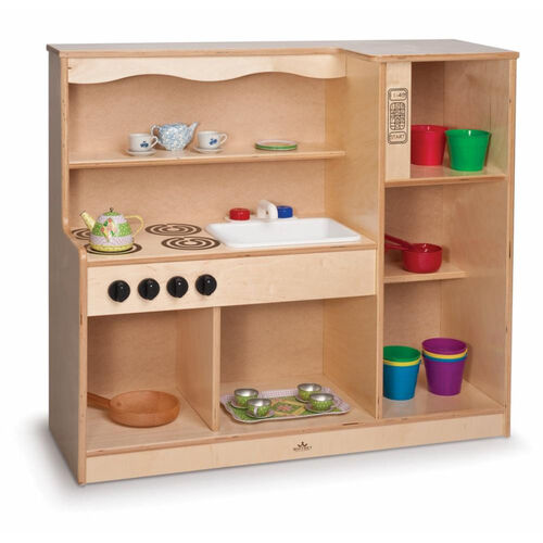 Toddler Kitchen Combo with Wide Open Shelves and No Doors