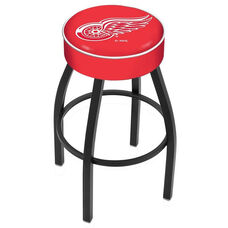 Detroit Red Wings 25'' Black Wrinkle Finish Swivel Backless Counter Height Stool with 4'' Thick Seat