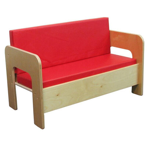 Children's Healthy Plywood Sofa with 2 Red Vinyl Reversible Cushions - Assembled - 30''W x 15.75''D x 20''H