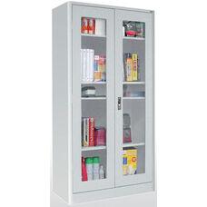 Elite Series 36'' W x 24'' D x 72'' H Radius Edge Clear View Storage Cabinet - Dove Gray