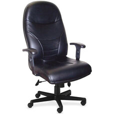 Mayline Group Ortho Comfort High-Back Executive Chair with Adjustable Arms - Black Faux Leather