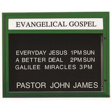 Single Sided Illuminated Community Board with Header and Forest Green Powder Coat Finish - 33''H x 43''W