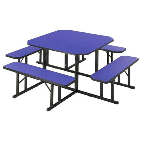 Customizable Square Backless Break Room Table with 4 Built in Benches - 78''W x 78''D x 29''H
