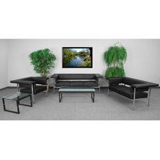 HERCULES Fusion Series Living Room Set in Black with Free Glass Coffee and End Table