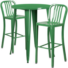 """Commercial Grade 30"""" Round Green Metal Indoor-Outdoor Bar Table Set with 2 Vertical Slat Back Stools"""