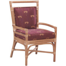 7555 Rattan Arm Chair w/ Upholstered Back & Seat - Grade 1
